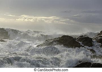 beau, marine, pendant, orage, lumière