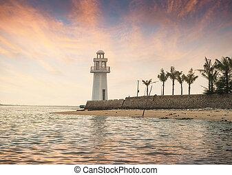 beau, marine, phare, levers de soleil