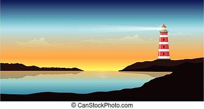 beau, marine, phare, océan coucher soleil