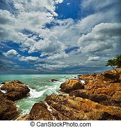 beau, marine, rochers