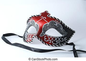 beau, masque, rouges, carnaval