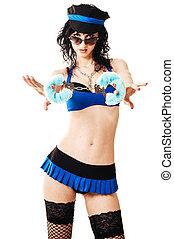 beau, menottes, clair, brunette, police, bouclé, nudité semi, maquillage, isolé, longs cheveux, lèvres, femme, sexy, blanc rouge