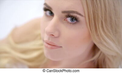 beau, mensonge, girl, blonds, lit