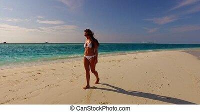 beau, mer, banc sable, sablonneux, bleu, 1, bains de soleil...