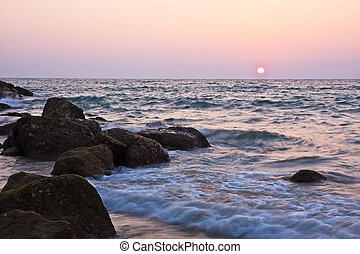 beau, mer, coucher soleil, fond