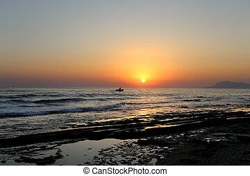 beau, mer, coucher soleil