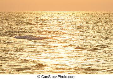 beau, mer, levers de soleil