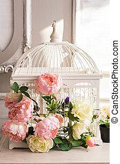 beau, mesquin, vendange, décoration, cage d'oiseaux, chic, fleurs