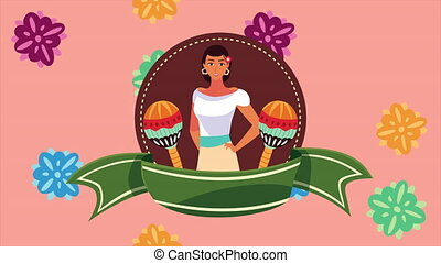 beau, mexique, célébration, animation, femme, maracas