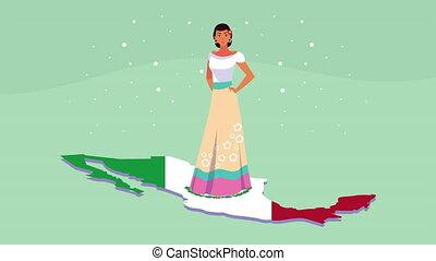 beau, mexique, célébration, animation, femme, mexicain, ...
