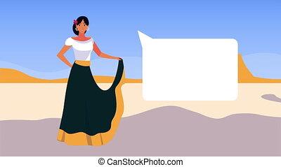 beau, mexique, célébration, animation, femme, paysage
