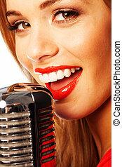 beau, microphone, femme, chant