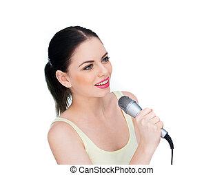 beau, microphone, femme, chant, jeune