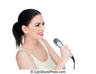 beau, microphone, femme, jeune, tenue