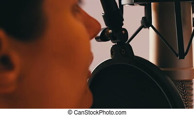 beau, microphone, studio, entrevue, girl, donne