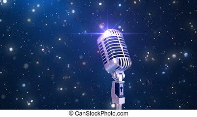 beau, microphone, vieux façonné, fond, karaoke