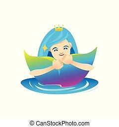 beau, mignon, agréable, art, agrafe, mignon, rigolote, bleu, caractère, isolé, arrière-plan violet, caractères, blanc, clipart, dessin animé, sirène, mascotte
