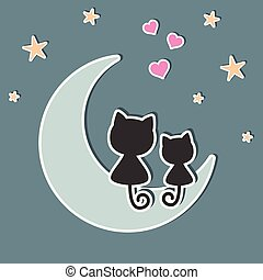 beau, mignon, amour, séance, deux, lune, chats, night.