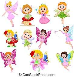 beau, mignon, ensemble, fées, isolé, fond, blanc, dessin animé