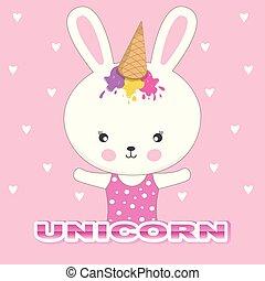beau, mignon, lapin, casquette, glace, arrière-plan., rose, unicorn., adorable, lapin, crème
