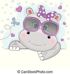 beau, mignon, lunettes soleil, hippopotame, isolé, arrière-plan., rose, girl, blanc