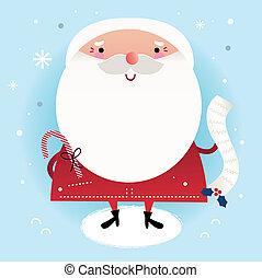 beau, mignon, note, hiver, livraison, fond, santa