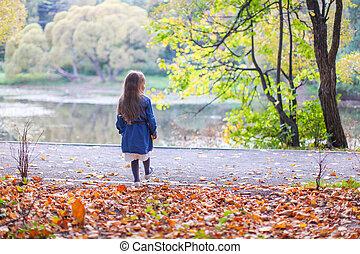 beau, mignon, peu, parc, lac, automne, promenades, girl
