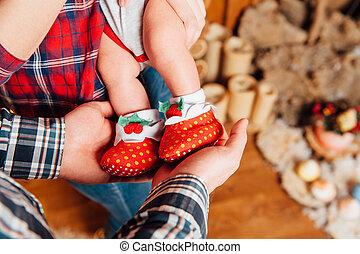 beau, mignon, pieds, chaussettes, bébé
