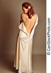 beau, mignon, roux,  girl, robe, blanc