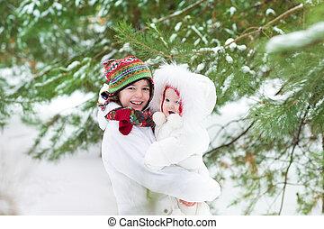 beau, mignon, soeur, sien, unde, hiver, garçon, parc, étreindre, bébé