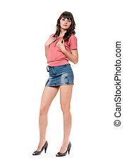 beau, mini, girl, jean, jupe