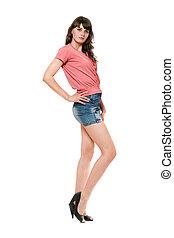 beau, mini, skirt., jean, isolé, girl