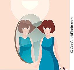 beau, miroir., femme, caractère