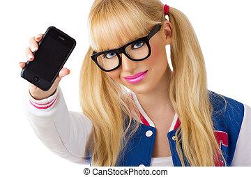 beau, mobile, étudiant fille, téléphone