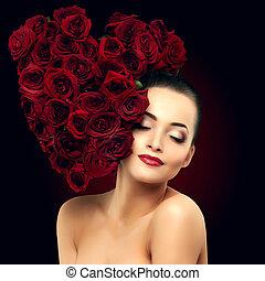 beau, modèle, femme, rose, dans, cheveux, forme coeur, salon...