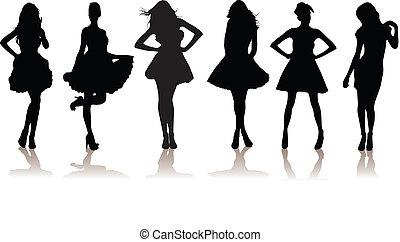 beau, modèle, filles