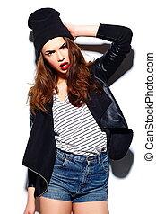 beau, modèle, look.glamor, mode, beanie, jeune, élevé,...