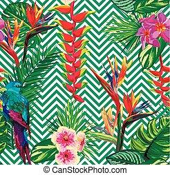 beau, modèle, résumé, seamless, texture, feuilles, exotique, paume, jungle, fond, floral, rayé, fleurs, géométrique, parrots.