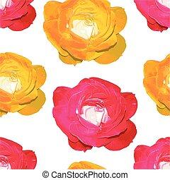 beau, modèle, roses., seamless