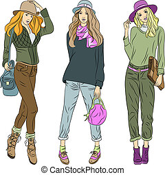 beau, modèles mode, sommet, filles, vecteur, chapeaux, pantalon