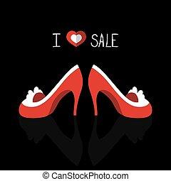 beau, mode, aimez coeur, texte, chaussures, sale., vecteur, carte