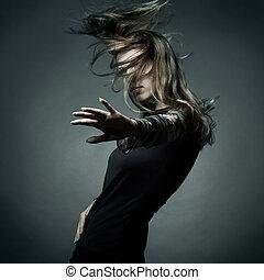 beau, mode, cheveux vol, portrait femme