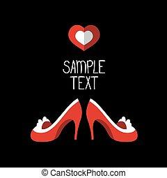 beau, mode, coeur, chaussures, text., vecteur, placer carte