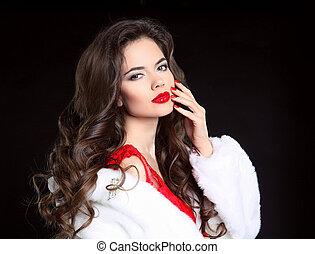 beau, mode, makeup., cheveux, lèvres, brunette, poser, portrait, girl, style, hiver, bouclé, coat., isolé, long, arrière-plan., noir, luxe, blanc rouge, femme, beauté, studio, fourrure, vison