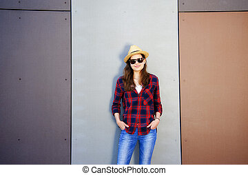 beau, mode, moderne, wall., jeunesse, prise vue., girl, style.