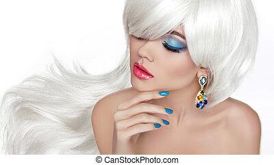 beau, mode, oeil, long, jewelr, makeup., blonds, hair., blanc
