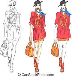 beau, mode, sommet, sac, vecteur, modèle, chapeau, girl