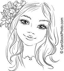 beau, mode, vecteur, cheveux, fille fleur
