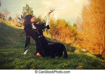 beau, mondes, femme, pré, robe, jeune, cheveux, connexion, sombre, poser, historique, entre, céleste, la terre, ouvert, geste, lanscape