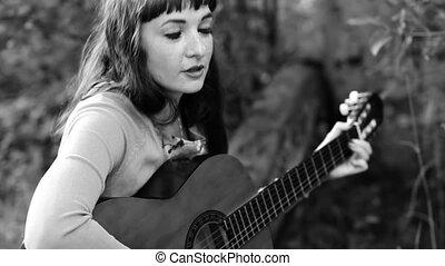 beau, monochrome, girl, guitar., jouer